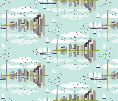 Toronto waterfront fabric by needlebook on Spoonflower - custom fabric