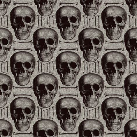 skullsandbones on printed burlap texture fabric by susiprint on Spoonflower - custom fabric