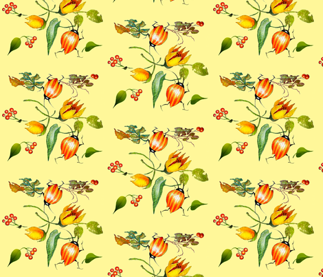Bug Medley in Yellow fabric by golders on Spoonflower - custom fabric