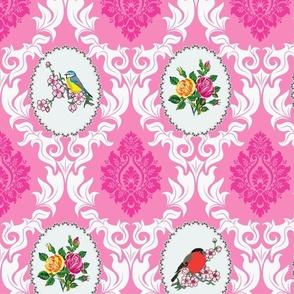 Bird Damask (pink)