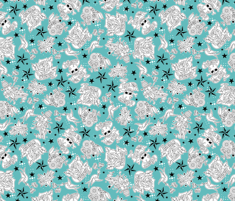 Derby Tatts fabric by cynthiafrenette on Spoonflower - custom fabric