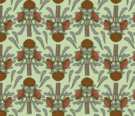 Waratahs on pale green fabric by su_g on Spoonflower - custom fabric