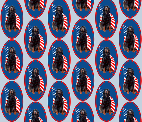 Gordon setter and flag fabric by dogdaze_ on Spoonflower - custom fabric