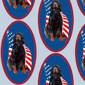 Gordon setter and flag