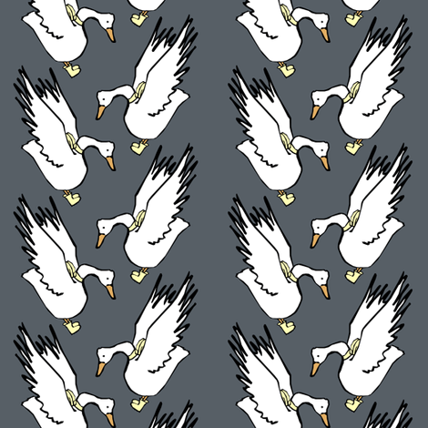 White Geese in Rain Boots fabric by pond_ripple on Spoonflower - custom fabric