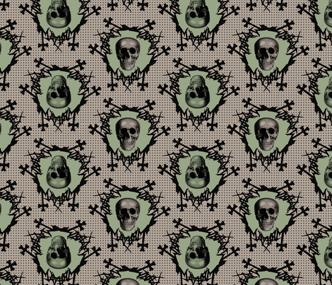 skulls on dots green and dark beige fabric by susiprint on Spoonflower - custom fabric