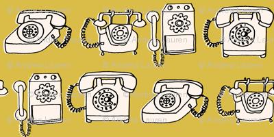 Rotary Phone - Mustard/Champagne