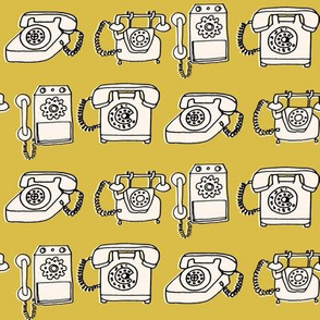 rotary telephone // vintage mustard yellow phone rotary hand-drawn illustration