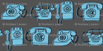 Rotary Phone - Charcoal/Soft Blue