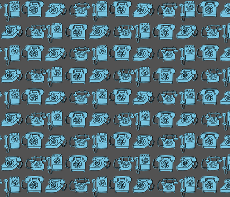 Rotary Phone - Charcoal/Soft Blue fabric by andrea_lauren on Spoonflower - custom fabric