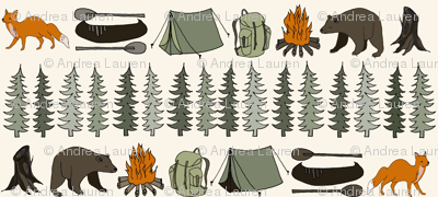 Camping in the Wild - Cream Background by Andrea Lauren