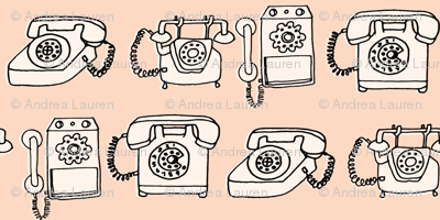 rotary telephone // light peach blush champagne vintage rotary phone