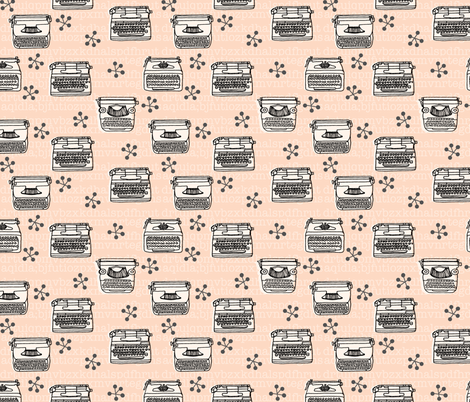 Typewriter // vintage blush and cream vintage homewares fabric by andrea_lauren on Spoonflower - custom fabric