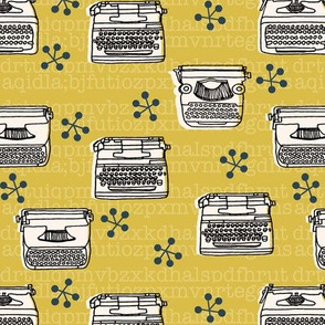 Typewriter // mustard champagne hand-drawn vintage house homewares 50s