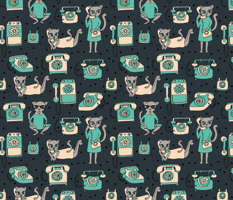 Dial K for Kitty - Navy fabric by papersparrow on Spoonflower - custom fabric