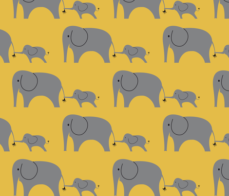Elephant_mum_and_baby_repeat fabric by studioformo on Spoonflower - custom fabric