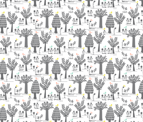 Forest trees & birdies fabric by bethan_janine on Spoonflower - custom fabric