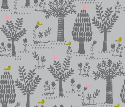 tree print grey