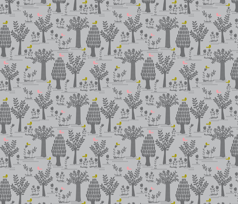 tree print grey fabric by bethan_janine on Spoonflower - custom fabric