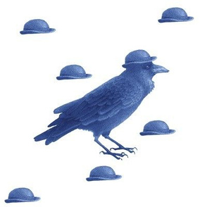crow w bowler hat (blue)