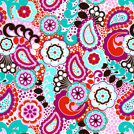 PAISLEY GARDEN 2 fabric by juneblossom on Spoonflower - custom fabric