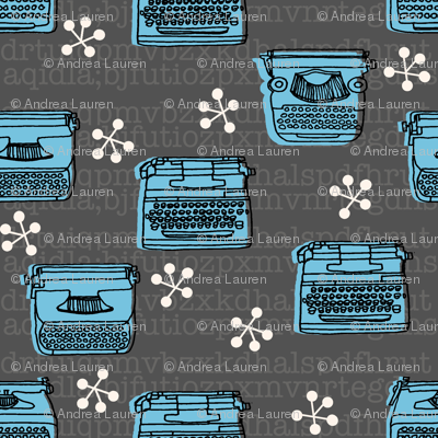 Typewriter // charcoal soft blue hand-drawn vintage illustration