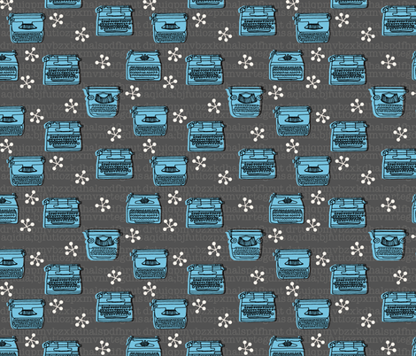 Typewriter // charcoal soft blue hand-drawn vintage illustration fabric by andrea_lauren on Spoonflower - custom fabric