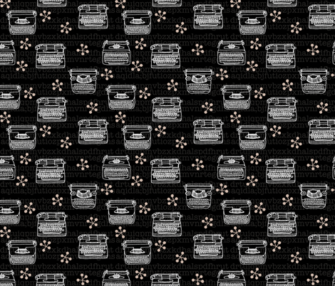 Typewriter // black and white hand-drawn illustration vintage fabric by andrea_lauren on Spoonflower - custom fabric