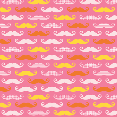 pink orange stache fabric by whimsiekim on Spoonflower - custom fabric