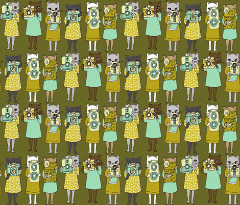 Cats with Cameras - Ochre fabric by papersparrow on Spoonflower - custom fabric