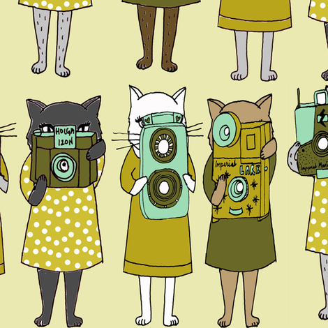 Cats with Cameras - Cream fabric by papersparrow on Spoonflower - custom fabric