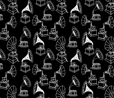Phonograph // black and white hand-drawn record player vintage fabric by andrea_lauren on Spoonflower - custom fabric