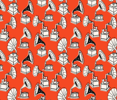 Phonograph // red hand-drawn vintage colors record player vinyl fabric by andrea_lauren on Spoonflower - custom fabric
