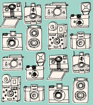 Vintage Cameras - Pale Turquoise