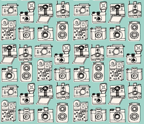 Vintage Cameras // mint hand-drawn kids nursery cute toys fabric by andrea_lauren on Spoonflower - custom fabric