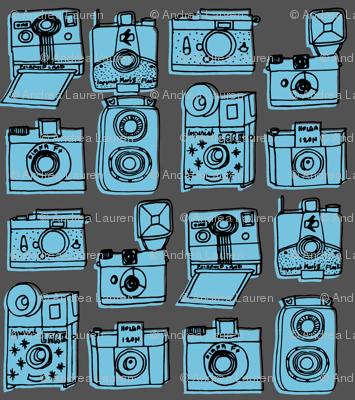 Vintage Cameras - Charcoal/Soft Blue