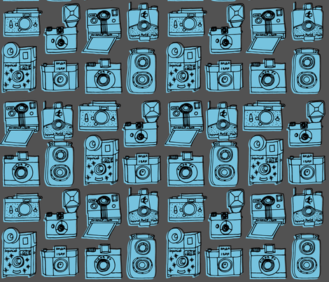 Vintage Cameras - Charcoal/Soft Blue fabric by andrea_lauren on Spoonflower - custom fabric