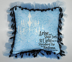 Arise and Shine Forth 8x8-inch Pillow Front: Damask