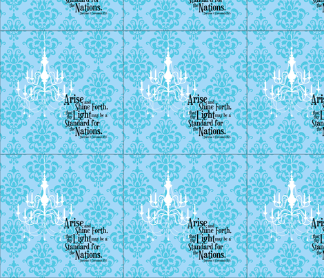 Arise and Shine Forth 8x8-inch Pillow Front: Damask fabric by hang_a_ribbon_on_the_moon on Spoonflower - custom fabric