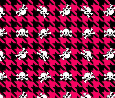Red Houndstooth & Skulls fabric by mysteek on Spoonflower - custom fabric