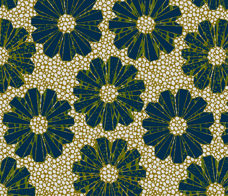 art deco polyfloral on shagreen 4 color-ch fabric by glimmericks on Spoonflower - custom fabric