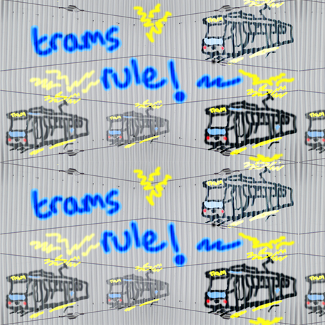 Trams Rule! fabric by upcyclepatch on Spoonflower - custom fabric