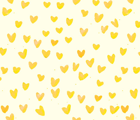 cestlaviv_Yellow Hearts Cream fabric by cest_la_viv on Spoonflower - custom fabric