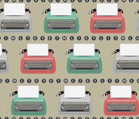 typewriter fabric by eclaire16 on Spoonflower - custom fabric