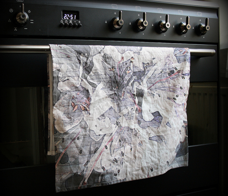 Lavender rodondendron tea towel - spring