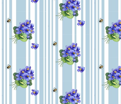 violets variation on blue stripe fabric by golders on Spoonflower - custom fabric