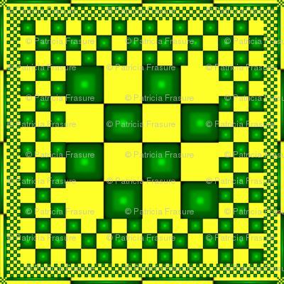 Green and Yellow Checkered Kerchief or Napkin