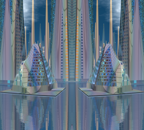 Tamara Alien Cityscape © Gingezel™ 2012 fabric by gingezel on Spoonflower - custom fabric