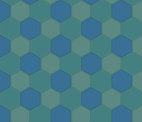 Blue Green Hexagon Ponds © Gingezel™ 2010 fabric by gingezel on Spoonflower - custom fabric