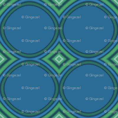 Retro Blue Circles and Green Diamonds © Gingezel™ 2010
